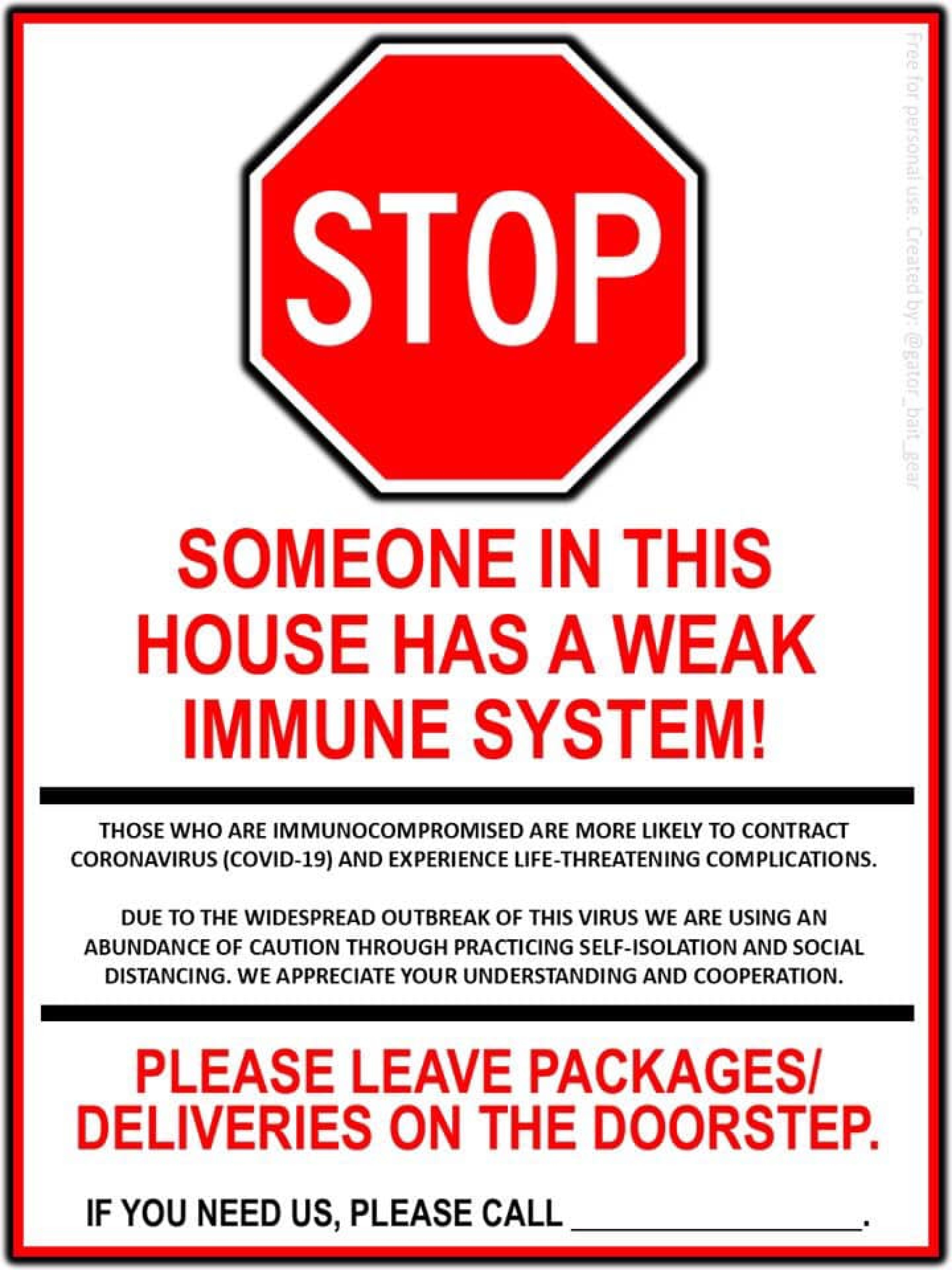 Stop weak immune system leave at door poster - HOME