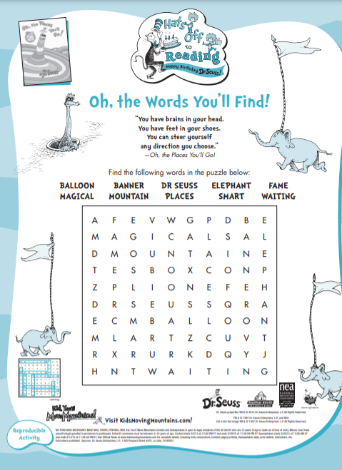 oh the places you will go word finding children rehabilitation - Children's Corner